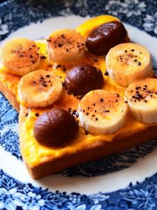 バナナと栗のハニートースト
