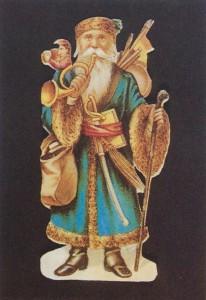 古いクリスマスカードに描かれたペール・ノエル(サンタクロース)