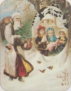 白い髭で描かれた、かつてのサンタクロース。この他にもサンタクロースは様々な姿でイメージされていた。